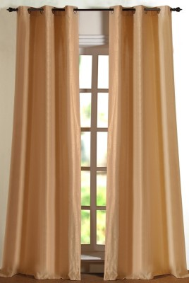 Deco Window Polyester Beige Printed Eyelet Window Curtain