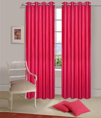 PHF Polyester Pink Plain Eyelet Door Curtain