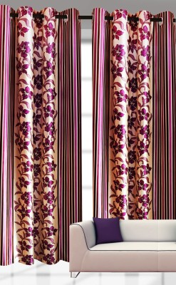 India Furnish Polyester Lavender Printed Eyelet Door Curtain