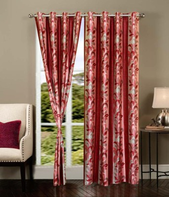 Home Fantasy Polyester Red Floral Eyelet Window Curtain