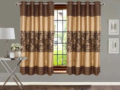 Vivace Homes Jacquard, Polyester Brown Floral Eyelet Window Curtain