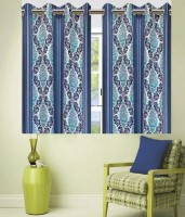 Zesture Polyester Multicolor Motif Eyelet Window Curtain(150 cm in Height, Pack of 2)