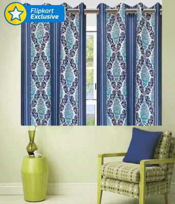 Zesture Polyester Multicolor Motif Eyelet Window Curtain