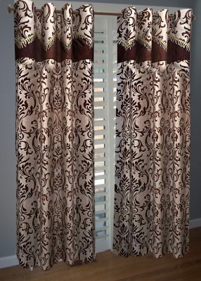 KANHA Polyester Brown Abstract Eyelet Window & Door Curtain