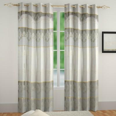 Muren Satin Off White Self Design Eyelet Door Curtain