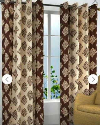 Divine Polyester Brown Abstract Eyelet Window & Door Curtain
