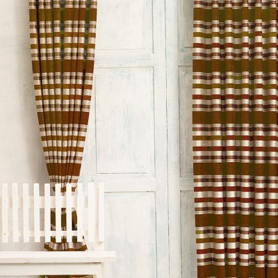 New Fabric Art Jacquard Brown Striped Eyelet Door Curtain
