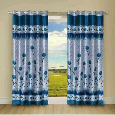 Handy Texty Polyester Blue Floral Eyelet Door Curtain