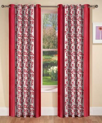 AJ Interior Polyester Maroon Printed Eyelet Window Curtain