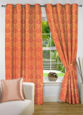 NuHome Decor Polyester Orange Floral Eyelet Long Door Curtain