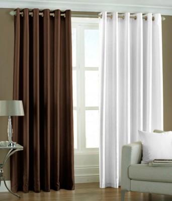 The Decor Hub Polyester Brown, White Plain Eyelet Long Door Curtain