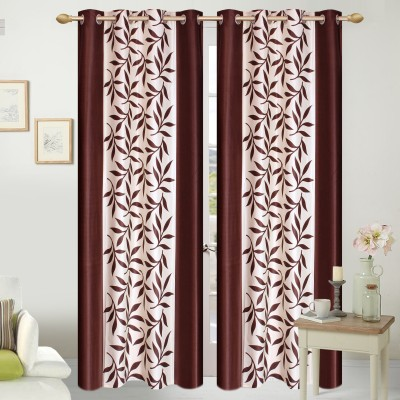 Shopgalore Polyester Brown Floral Eyelet Window & Door Curtain