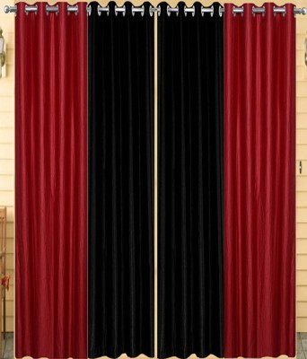 Homedecorhd Polyester Maroon, Black Solid Eyelet Door Curtain