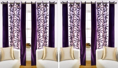 FriendClub Polyester Purple Printed Eyelet Door Curtain