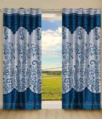 Deco Home Polyester Blue Printed Eyelet Door Curtain
