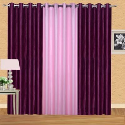 Shiv Shankar Handloom Polyester Wine, Light Pink Solid Eyelet Door Curtain