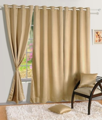 Homec Polyester Beige Solid Eyelet Window Curtain