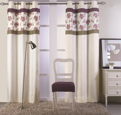 KC HOME Polyester Beige, Pink Floral Curtain Window Curtain