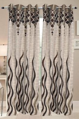Valtellina Polyester Brown Abstract Eyelet Door Curtain