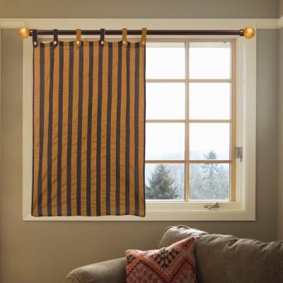 Handloom Factory Cotton Brown, Black Striped Tab Top Window Curtain
