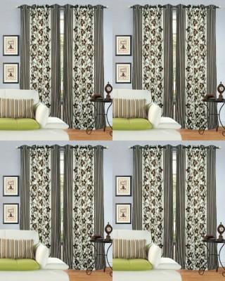 Decor Vatika Polyester Brown Abstract Eyelet Door Curtain