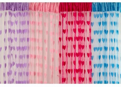 gp Polyester Multicolor Striped Ring Rod Door Curtain