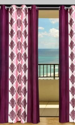 Home Aid Polyester Maroon Geometric Eyelet Door Curtain