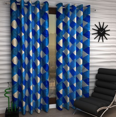 Home Fantasy Polyester Blue Checkered Eyelet Window Curtain