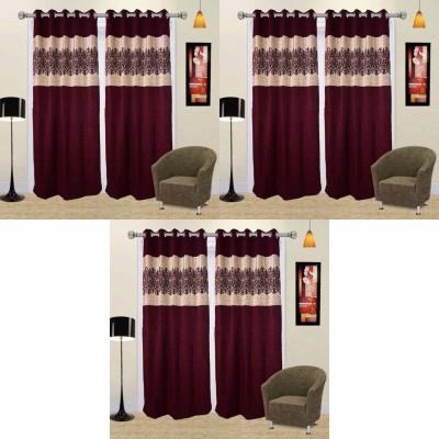 Go Decore Polycotton Purple Self Design Ring Rod Door Curtain