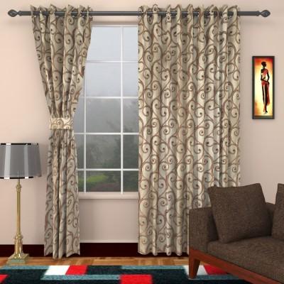 DBR Jacquard Multicolor Floral Eyelet Door Curtain