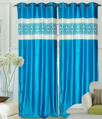 Trendz Home Furnishing Polyester Multicolor Plain Eyelet Door Curtain