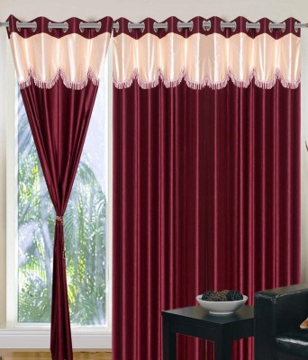 SKE Polyester Mehroon Plain Curtain Window Curtain