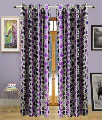 Urban Arts Polyester Purple Solid Eyelet Door Curtain