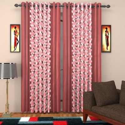 kart4smart Silk Maroon Floral Curtain Window & Door Curtain