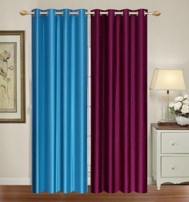 Furnishing Zone Polyester Blue, Purple Plain Eyelet Long Door Curtain