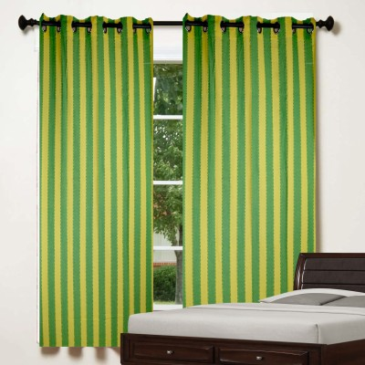 TG Shoppers Cotton Green, Yellow Striped Curtain Window Curtain