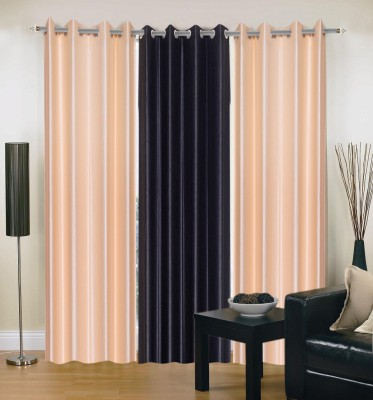 Brand Decor Polyester Black, Beige Solid Eyelet Long Door Curtain