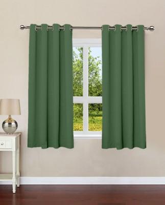 Lushomes Cotton Vineyard Green Plain Eyelet Window Curtain