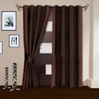 Story@Home Polyester Maroon Printed Eyelet Door Curtain(215 cm in Height, Pack of 2)