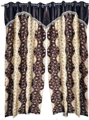 Madhav Product Polyester Brown Motif Eyelet Door Curtain
