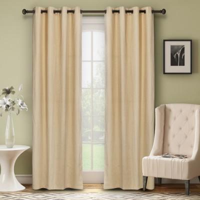 Soumya Polycotton Beige Plain Eyelet Door Curtain