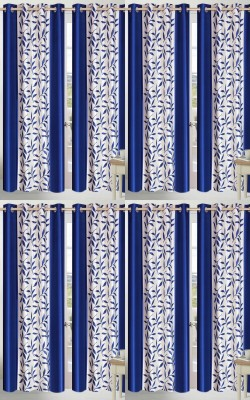 Shopgalore Polyester Blue Floral Eyelet Window Curtain