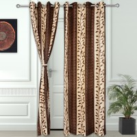 Story@Home Polyester Brown Abstract Eyelet Door Curtain(215 cm in Height, Pack of 2)