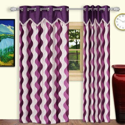 Dreaming Cotton Polyester Purple Geometric Eyelet Door Curtain
