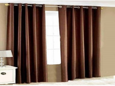 White Wave Polyester Brown Solid Concealed Tab Top Door Curtain