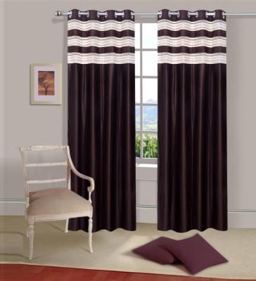 Excel Bazaar Polycotton Brown Plain Eyelet Door Curtain