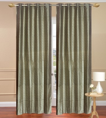 Daddyhomes Polyester Green Solid Eyelet Door Curtain