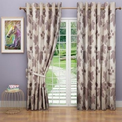 G M HomeFashion Polyester Multicolor Floral Eyelet Door Curtain