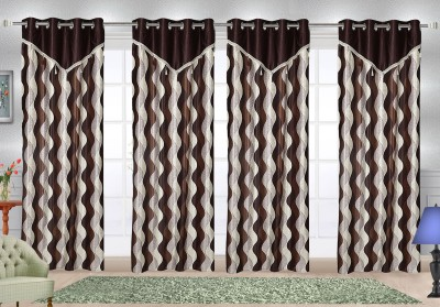 Comfort Zone Polyester Brown Abstract Eyelet Door Curtain