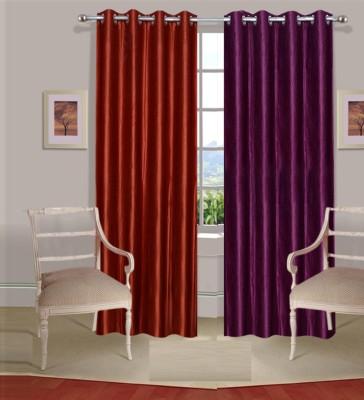 Excel Bazaar Polycotton Rust-Wine Plain Eyelet Door Curtain